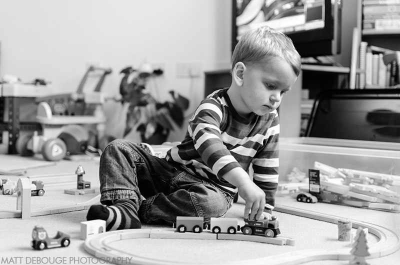 boy with toy train